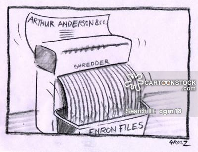 Arthur Andersen & Co found guilty of shredding important files during Enron investigation.